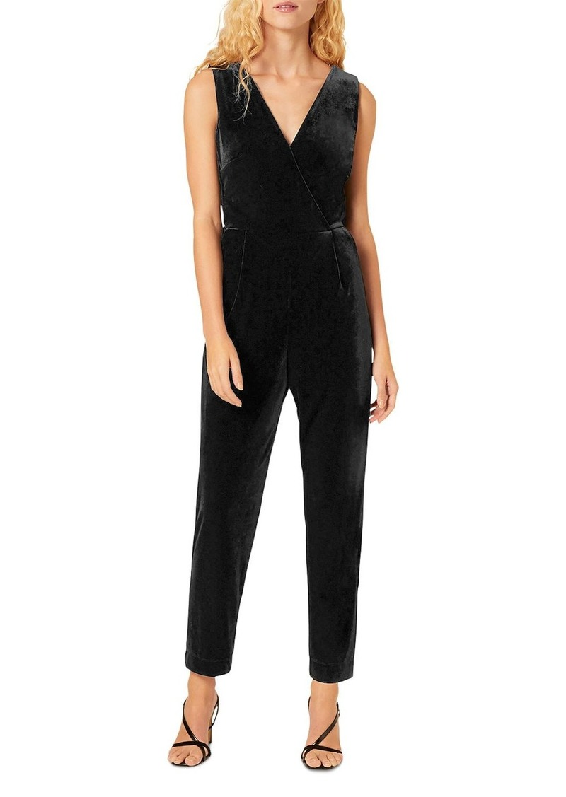FRENCH CONNECTION Marie Stina Velvet V-Neck Jumpsuit