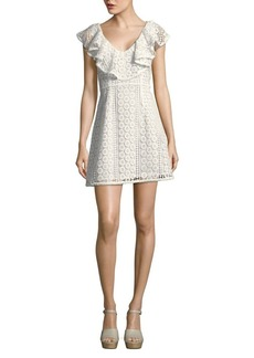 French Connection Massey Lace Ruffle V-Neck Dress