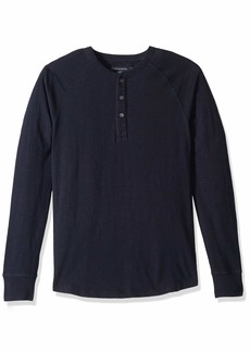 French Connection Men's 3 Button Solid Color Cotton Henley Shirt  S