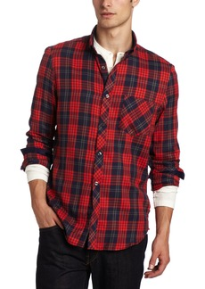 French Connection Men's Artist Attached Plaid Long Sleeve Shirt