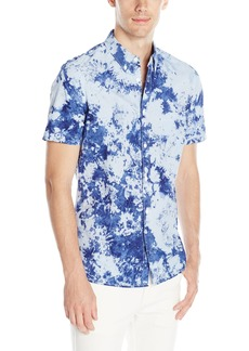 French Connection Men's Indigo City Light Tie Dye Short Sleeve Button Down Shirt