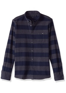 French Connection Men's Classic Flannel Slim Striped Shirt Charcoal/Marine Blue M