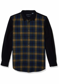 French Connection Men's Corduroy Essentials Shirt CALLUNA Yellow/Utility Blackyellow L
