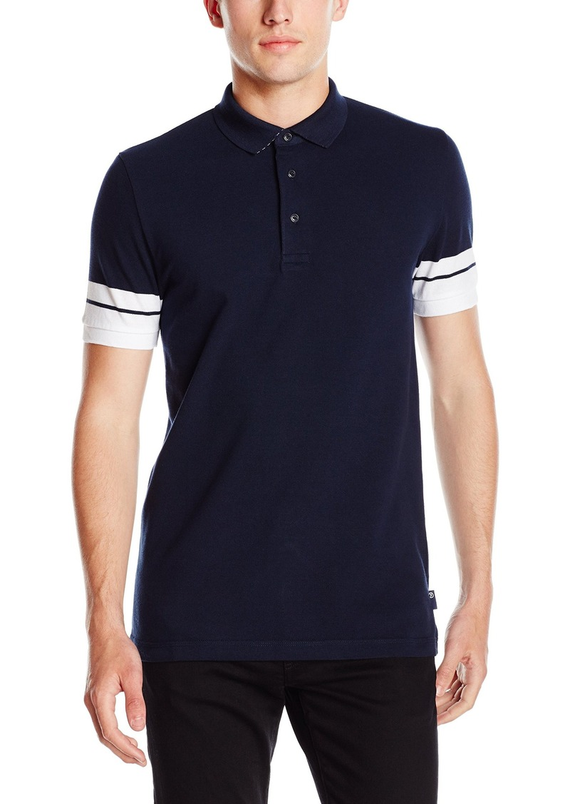 French Connection Men's Dip Sleeve Stripe Polo Shirt