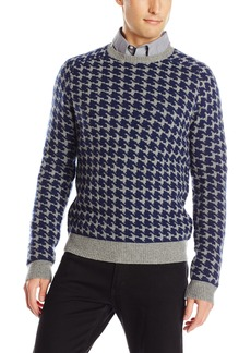 French Connection Men's Dogtooth Knits Crew Neck Sweater