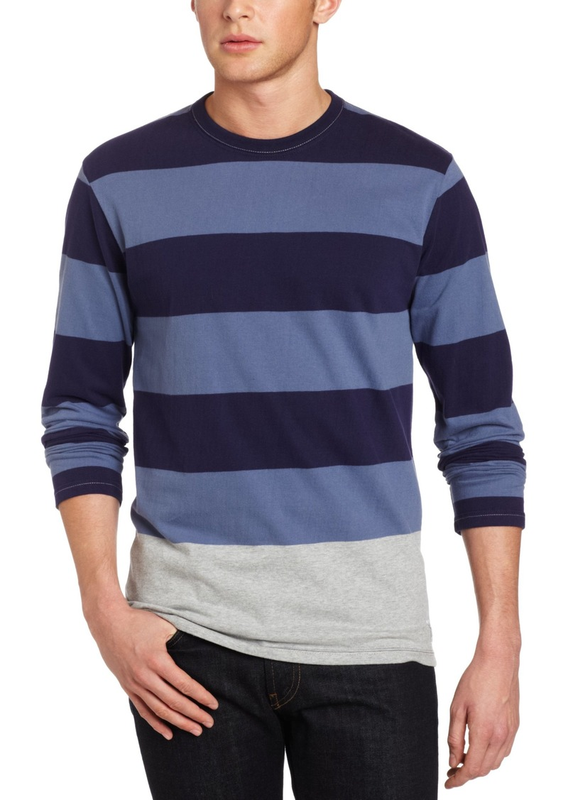 French Connection Men's Edged Engineered Long Sleeve Stripe Shirt