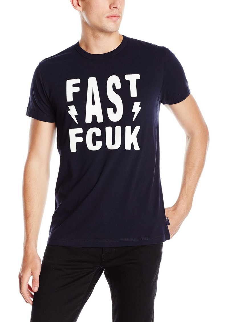 French Connection Men's Fast As Fcuk T-Shirt Marine Blue/White