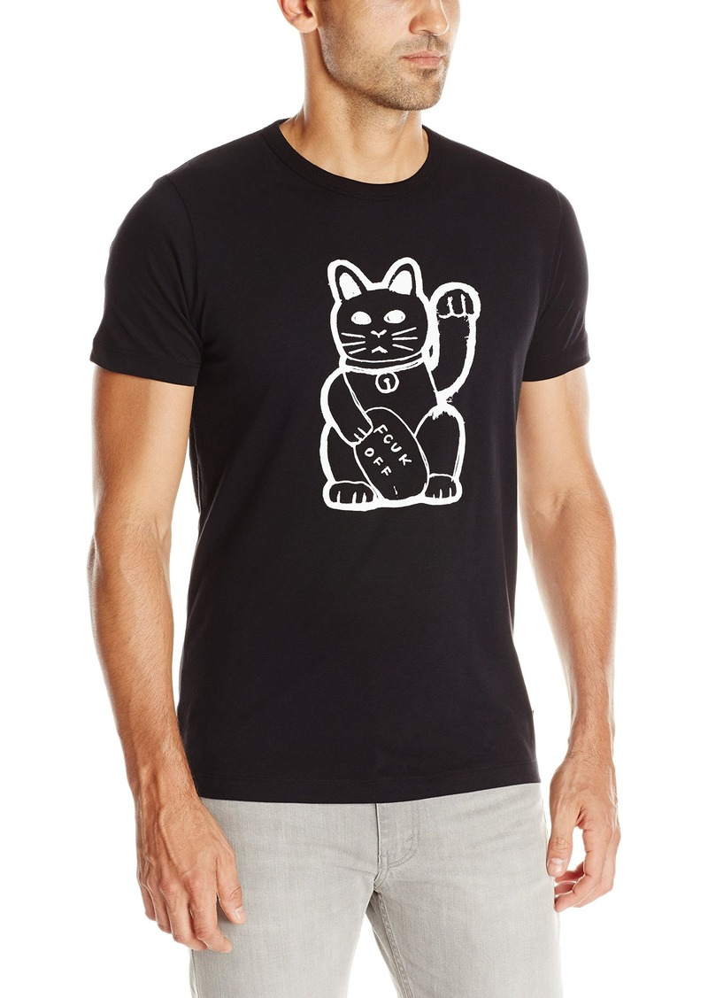 French Connection Men's Fortune Cat T-Shirt Black/White L