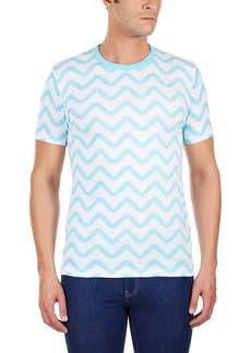 French Connection Men's Geo Herringbone Crew Tee Aqua AKY