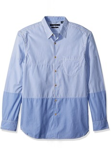 French Connection Men's Horizontal Cut Stripe Buttondown Shirt XL