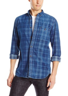 French Connection Men's Indigo Continental Cord Button Down Shirt