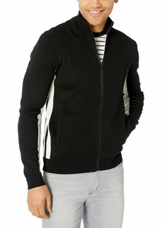 French Connection Men's Lakra Block Knit Long Sleeve Zip Up Sweater  S