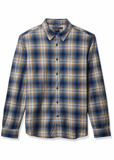 French Connection Men's Long Sleeve Flannel Stripe Button Down Shirt Blue/Yellow L