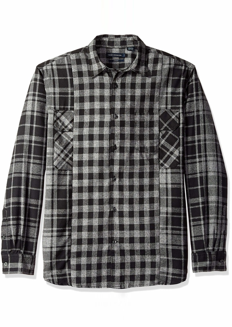 French Connection Men's Long Sleeve Flannel Stripe Button Down Shirt  S