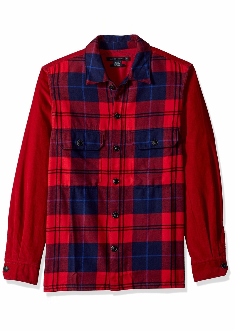 French Connection Men's Long Sleeve Flannel Stripe Button Down Shirt Tango red M