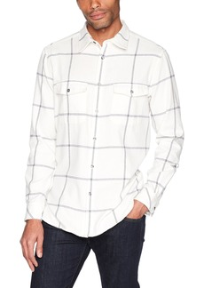 French Connection Men's Long Sleeve Flannel Stripe Button Down Shirt Turtle Dove/Black iris L