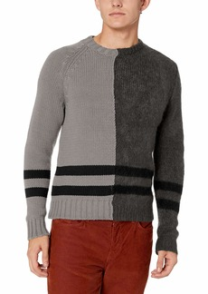 French Connection Men's Long Sleeve Mohair Stripe Sweater mid Grey/Charcoal Black S
