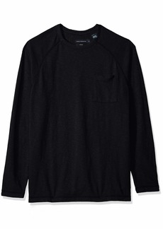 French Connection Men's Long Sleeve Slub Stretch Crew Neck Shirt Limo S