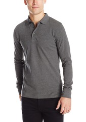French Connection Mens Long Sleeve Solid Color Slim Fit Polo Shirt
