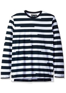 French Connection Men's Long Sleeve Stripe Crew Neck T-Shirt  L