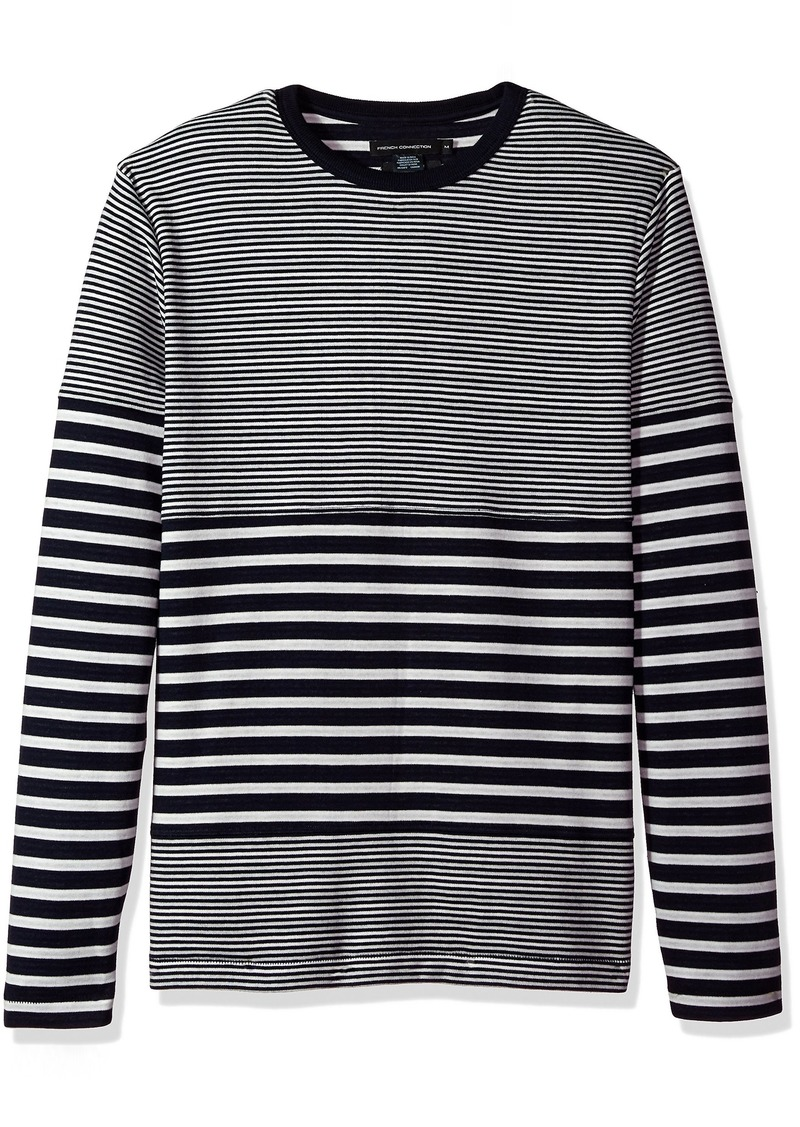 French Connection Men's Long Sleeve Stripe Crew Neck T-Shirt  M