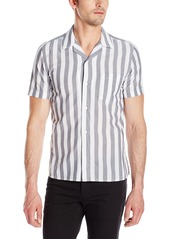 French Connection Men's Mithun Stripe Short Sleeve Button Down Shirt