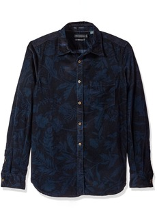 French Connection Men's Overdyed Fumio Floral Shirt Black iris/Marine Blue S