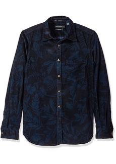 French Connection Men's Overdyed Fumio Floral Shirt Black iris/Marine Blue M