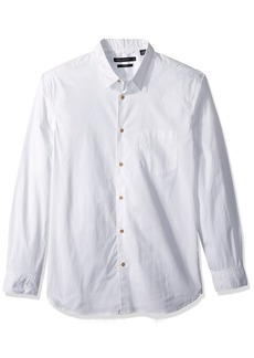 French Connection Men's Overdyed Poplin Long Sleeve Button Down Shirt  S