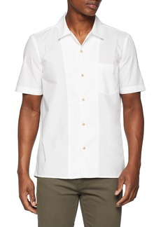 French Connection Men's Overdyed Poplyn Short Sleeve Button Down Shirt White L