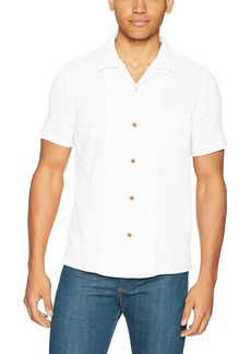French Connection Men's Overdyed Textured Dobby Short Sleeve Reg Fit Button Down  L