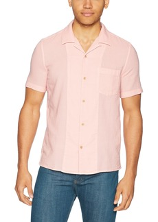 French Connection Men's Overdyed Textured Dobby Short Sleeve Reg Fit Button Down  M