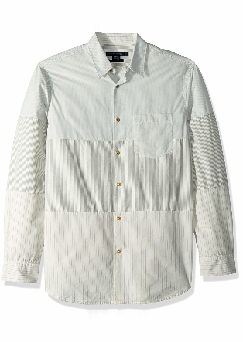 French Connection Men's Patchwork Button Down Shirt  L