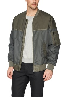 French Connection Men's Patchwork Carbon Wax Coating Bomber Jacket Combat Green XL