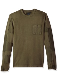 French Connection Men's Patchwork Crewneck Reg Fit Long Sleeve Shirt Combat Green M