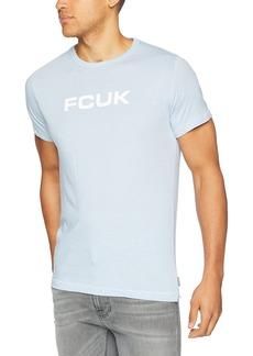 French Connection Men's Short Sleeve Crew Neck FCUK Slogan Cotton T-Shirt Sky Melange/White L