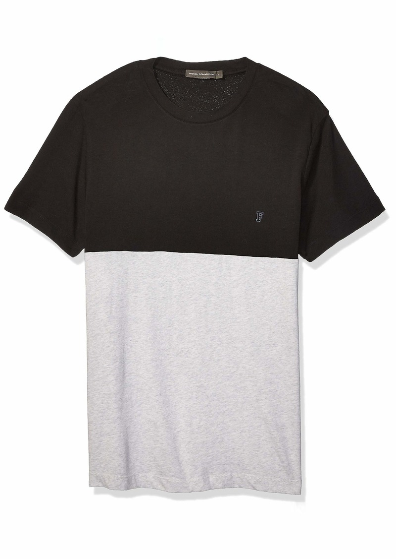 French Connection Men's Short Sleeve Crew Neck Printed Cotton T-Shirt Black/Light Gray Melange M