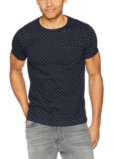 French Connection Men's Short Sleeve Crew Neck Printed Cotton T-Shirt Marine Blue/White spot 497 M