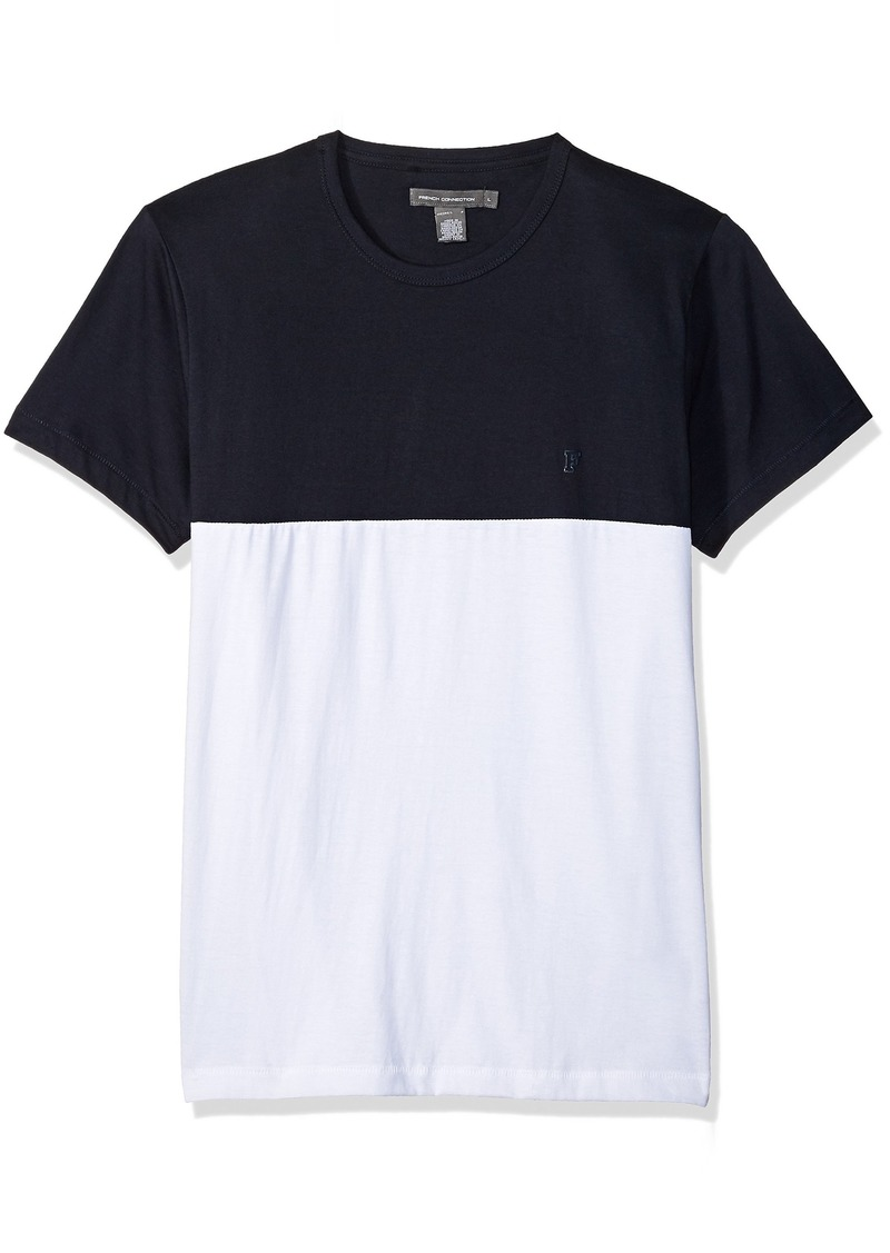 French Connection Men's Short Sleeve Crew Neck Printed Cotton T-Shirt MARINE/WHITE XL