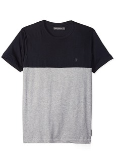 French Connection Men's Short Sleeve Crew Neck Printed Cotton T-Shirt MRNE/LGT GRY ML M