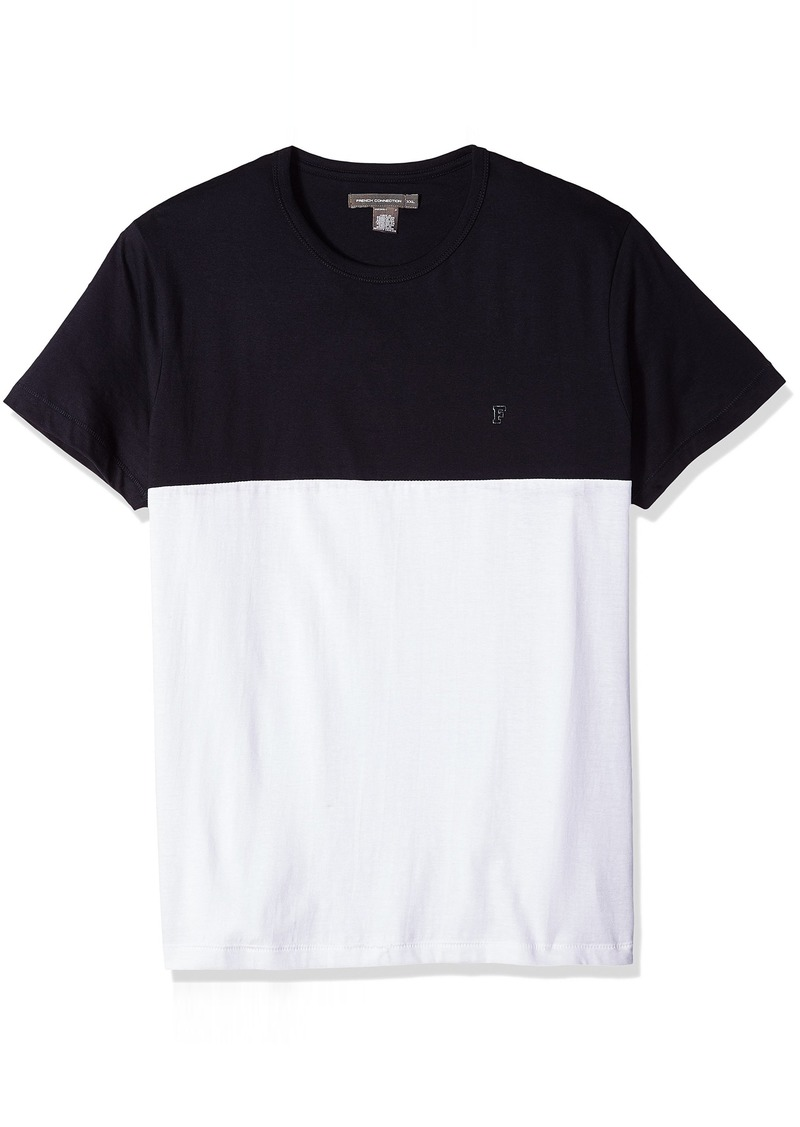 French Connection Men's Short Sleeve Crew Neck Printed Cotton T-Shirt MRNE/LGT GRY ML XXL