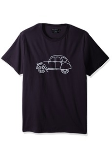 French Connection Men's Short Sleeve Crew Neck Regular Fit Graphic T-Shirt Utility Blue car L