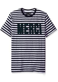 French Connection Men's Short Sleeve Crewneck reg Fit French Slogan Cotton T-Shirt  M