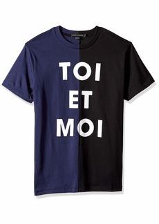 French Connection Men's Short Sleeve Crewneck Reg Fit Slogan Cotton T-Shirt Blood Blue M