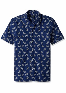 French Connection Men's Short Sleeve Printed Regular Fit Button Down Shirt koi Cap M