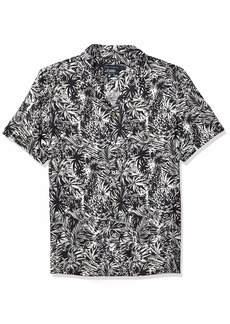 French Connection Men's Short Sleeve Printed Regular Fit Button Down Shirt Paikau Black/White XL