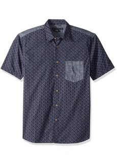 French Connection Men's Short Sleeve Printed Regular Fit Button Down Shirt deep Cobalt XL