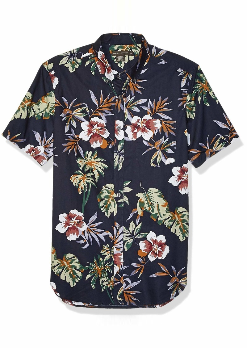 French Connection Men's Short Sleeve Printed Regular Fit Button Down Shirt  XXL