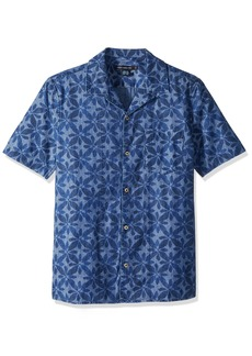 French Connection Men's Short Sleeve Printed Regular Fit Button Down Shirt  XL