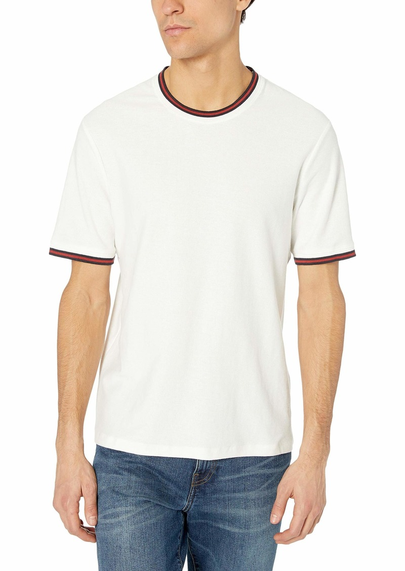 French Connection Men's Short Sleeve Reg Fit Solid Color Crew Neck Cotton T-Shirt Milk/Brick Red S